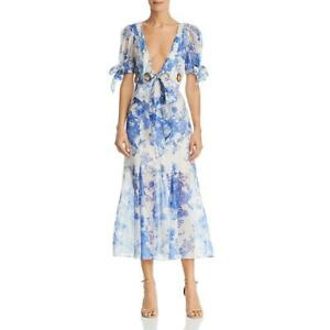 Alice McCall Womens Everything Blue Puff Sleeve Floral Midi Dress 2 BHFO 0643