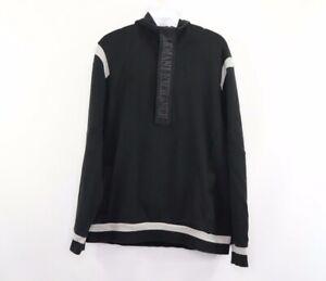 Armani Exchange Mens Large Spell Out Half Zip Hoodie Sweatshirt Black Cotton