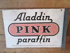 Aladdin Pink paraffin enamel sign. vintage sign.Shell. BP. Castrol