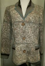 CATHERINE ANDRE TAN & TEAL BUTTON DOWN POCKET JACKET CARDIGAN XL