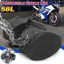 2X Black Saddle Bags Rear Seat Trunk Luggage Motorcycle Cruiser w/ Lights Mount
