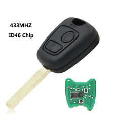 For Citroen C1 C3 remote full key fob 433mhz 2 Button uncut blade with ID46 chip