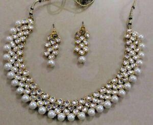 Designer Gold Plated Bollywood Style Jewelry Indian Kundan Bridal Necklace Set