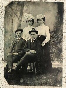 Original Antique 1800's Tintype Photo Family / Group / Hats