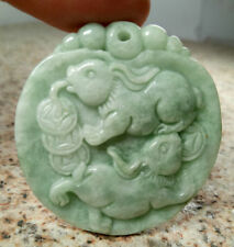 Certified Light Green Natural Grade A Jade jadeite Carved Rabbit Coin Pendant001