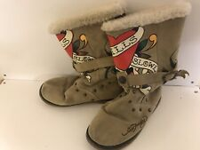 ED HARDY - CHRISTIAN AUDIGIER Size Uk 4.5  Love Kills Suede Boots