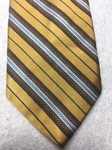 JOS A BANK MENS TIE GOLD WITH BROWN BLUE STRIPE 3.5 X 62 EXTRA LONG