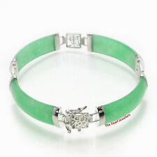 Green Jade Bracelet w/ 925 Sterling Silver Chinese Character Chain Links - Tpj