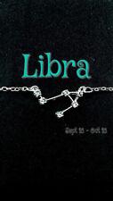 Libra Zodiac Constellation Necklace Silver color CZ stones 18'' chain