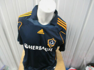 VINTAGE adidas MLS LOS ANGELES GALAXY DAVID BECKHAM SEWN LARGE JERSEY 2008 KIT