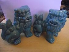 Pair of Apropos Chinese Porcelain  FOO DOG Figurine Statue Shishi Lion Asian Art