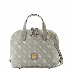 Dooney & Bourke Signature Gray Satchel Quilt Zip Zip Strap included Handbag