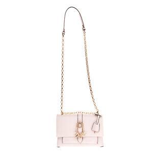 RRP €515 MICHAEL MICHAEL KORS Leather Flap Crossbody Bag Rhinestones Chain Strap
