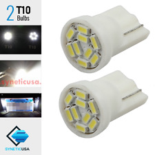 2X T10 161 192 912 9-LED White 3014 Chip License Plate Interior Side Light Bulbs