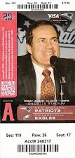 2014 NEW ENGLAND PATRIOTS VS PHILADELPHIA EAGLES TICKET STUB 8/15 BILL BELICHICK
