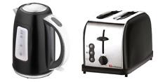 1.7L Cordless Jug Electric Kettle & 2 Two Slice Wide Slot Toaster Set Black