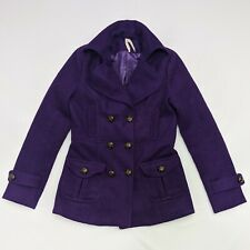 Cotton Candy Women's S Wool Peacoat Purple w/Leather Buttons Winter Pea Coat