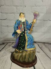 """10"""" Tall Colorful Fantasy Wizard With Dragon Book & Crystal Ball On Wooden Base"""
