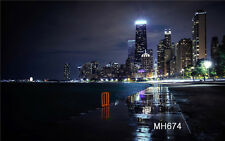 7X5FT Vinyl Photography Backdrop City Night Lake Background Studio Props MH674
