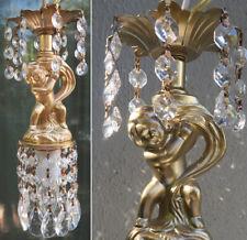 SWAG Cherub hanging Lamp Chandelier Vintage spelter crystal prism mini light