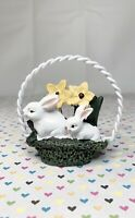 Easter Figurine White Bunny Rabbits in Basket of Flowers Resin Spring Decor 2.5""