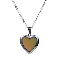 Elegant Multi Color Change Heart Stone Locket Pendant Mood Pendant Necklace