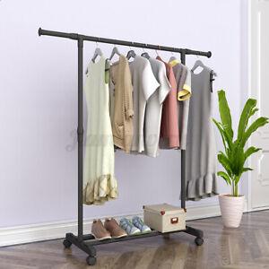 Garment Rack Foldable Clothes Hanger Adjustable Stand w/ Wheels Storage Shelf