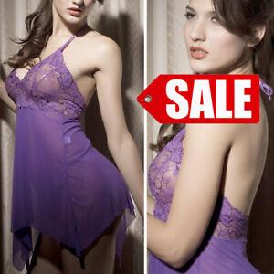 SALE Purple Lingerie Floral Halter Top Babydoll Nightgown Dress Lingerie M-6XL