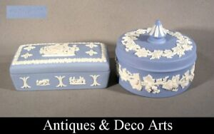 2 Wedgwood Blue Jasperware Trinket Boxes