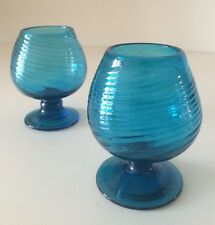 SET OF 2 Vintage Mexican Turquoise Blue Swirl Glass Brandy Snifter Glass