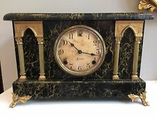 Antique Sessions Faux Marble Mantle Clock 1880's