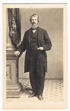 Tall Blonde Haired Mustached Bearded Man Nice Eyes Full View Cdv Tax Stamp 1864