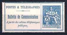 "FRANCE STAMP TIMBRE TELEPHONE 16 "" BULLETIN 25c BLEU SUR CHAMOIS"" NEUF TTB  R202"