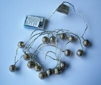 Christmas DECORATIVE BALL String Lights BATTERY POWER 16 LED 2.55M WARM WHITE