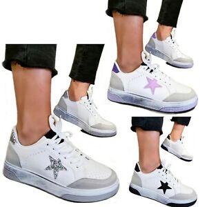 Scarpe donna Sneakers Stella Ginnastica Passeggio Glitter Fitness Sportive D61