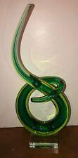 Murano Spiral Glass Upright Swirl Spiral Art Sculpture Green