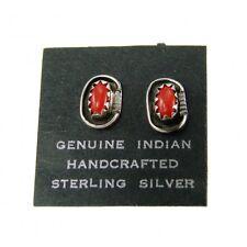 Indian Handcrafted Sterling Silver Coral Earrings by Roselene Joe