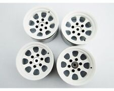 "Beadlock Wheels (4) 1.9"" Steel 6-Lug Hex White Bead Lock Hot Racing BLW19SS38"