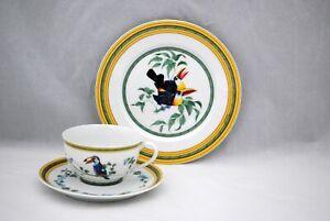Hermes Toucans Cup Saucer & Dessert Plate Limoges France Porcelain