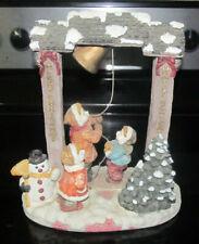 Christmas Holiday Large Resin Figurine Kids Children Ringing The Bell Snow Scene