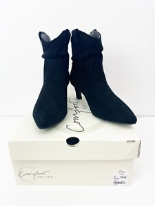 Cato Women's Size 7 Black Faux Suede Ankle Small Heel Boots
