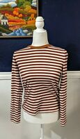 Paris Atelier & Other Stories 100% Cotton Burnt Orange Striped Top Sz 4 Small