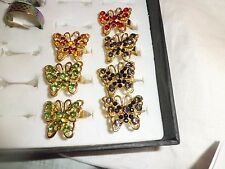 butterfly rings, job lot x 7.  party favours, sparkly, adjustable, fairs, gift