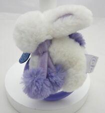 Doudou et Compagnie hochet lapin fourrure  pompon blanc et lavande 15 cm