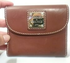 Dooney & Bourke Tri-fold small flap brown leather wallet cards, coins and bills