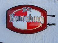 support publicitaire-enseigne lumineuse de bar-pub-kronenbourg  biere lager-déco