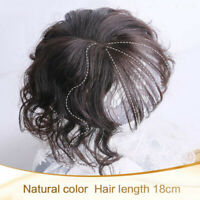 Women Wavy Curly With Bang  Hairpiece Clip In Real Human Hair Top Topper Toupee