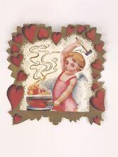 Antique Secret Admirer Valentine Cherub Angel Forge Heart Victorian Edwardian