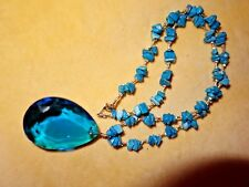 Vintage 1980s bright blue dyed Howlite short necklace glass pear drop pendant
