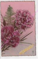 CPSM  FANTAISIE SAINTE CATHERINE oeillets violet pailletés